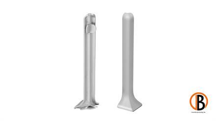 KWG Außenecken für Alu Sockelleiste edelstahl Optik 60mm