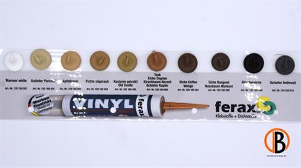 ferax Vinyl-Fugenmas. Teak/Eiche Cognac/Kirschbaum Akzent/Schiefer Kupfer, matt, 310 ml Kartusche