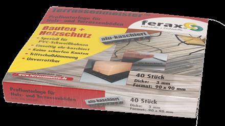 Terrassen-PAD alu-kaschiert 3mm, 90x90mm, 40 St./P Profi-Unterlage speziell fu¨r PVC- Schweißbahnen