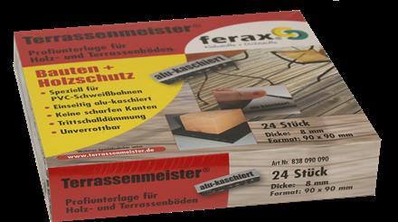 Terrassen-PAD alu-kaschiert 8mm, 90x90mm, 24 St./P Profi-Unterlage speziell fu¨r PVC- Schweißbahnen