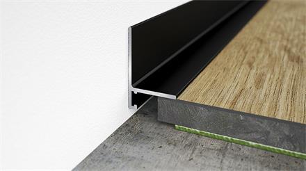 Minileiste Sockelleiste Schwarz C35 Aluminium, 16x26x2000mm