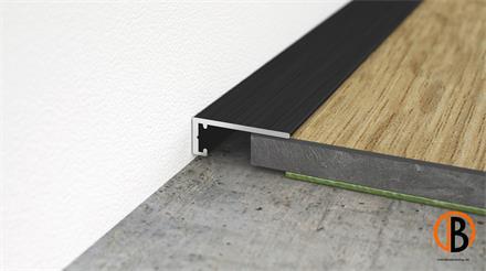 Minileiste Abschlussleiste Schwarz C35 Aluminium, 16x6x2000mm, AL16X5