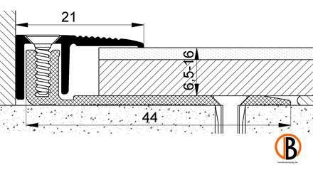 Abschlussprofil 8223, Alu-elox. Edelstahl, 100cm lang, mit breitem Basisprofi