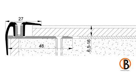 Treppenprofil 8228 Alu elox., Farbton Edelstahl 1,00m lang