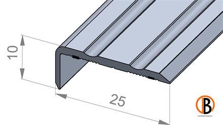 Winkelprofil 8710 sk mit 2 Zierrillen  25x10 mm Edelstahl, 100 cm lang, selbstklebend