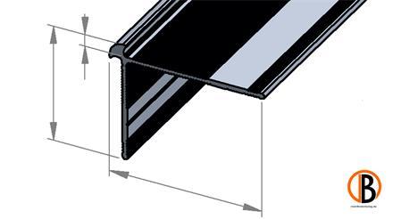 Treppenprofil 8772 für 2-2,5mm Belagstärke Farbton Edelstahl, 2,70m lang, 30x39mm