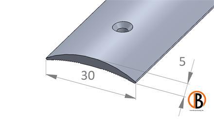 Übergangsprofil 8129 gebohrt, Alu elox. Silber, 100cm lang
