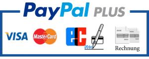 Zahlen Sie sicher und einfach mit Kreditkarte oder Rechnung über Paypal Plus